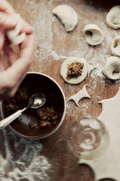 Ukrainian ushka (mushroom-filled dumplings). Grew up having this with borsch.
