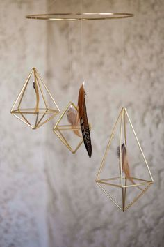 Gold Geometric Feather Mobile by NiftyNeat on Etsy