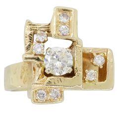 Modernist .74 Carat Diamond Gold Ring