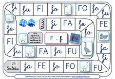 Juegos de la oca para aprender a leer sílabas directas con el fonema F