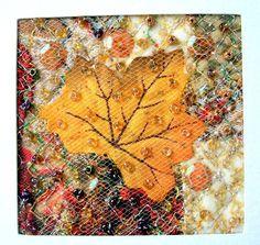 Silk leaf fabric art card Autumn card maple leaf by StitchMikki