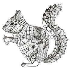 Ardilla de zentangle stylized, vector, Ilustración, patrón, lápiz a mano alzada, dibujado a mano. - Ilustración de stock: 103128088