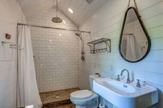 Walk in Shower with Shower Curtain no door, Shiplap Walls and subway tile