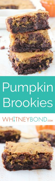Pumpkin chocolate chip cookies are baked into pumpkin brownies in this delicious dessert recipe for pumpkin brookies.