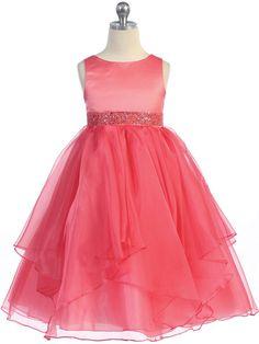 Amazing Satin and Organza Layered Flower Girl Dress