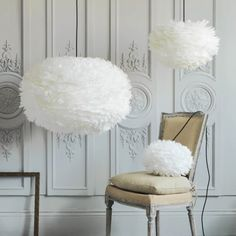 Aurora Vita Eos Feather Pendant Shades in White - Chandeliers & Ceiling Lights - Lighting - Lighting & Mirrors