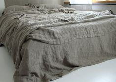 Linen duvet cover and two pillowcases set linen bedding by mooshop