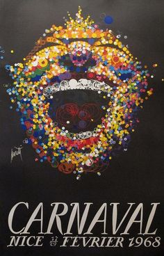 Original 1968 French poster 'Carnaval Nice'. Illustration by Raymond Moretti.