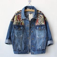 2017 New Fashion Spring Autumn Jeans Jacket Women Geometrical Patchwork Denim Jackets Outerwear Female Long Sleeve Coats AB020 #Affiliate