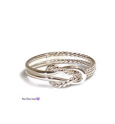 Buckle knot ring, Promise ring, sterling silver
