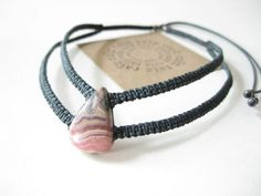 Rhodochrosite Macrame Choker Necklace Stone . Micro Macramé Jewelry Modern Boho Chic . Textile Fiber Jewellery . Design by raïz