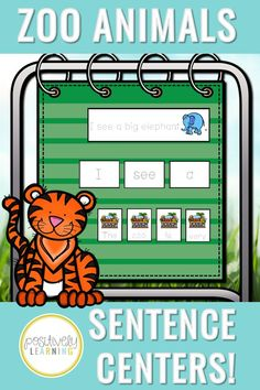 These zoo-themed sentence centers can be used all year long in the kindergarten and first grade classrooms! Students will build sentences about zoo animals using a visual model for support. Also included: five sets of unscramble zoo sentences and themed writing paper. Add these to your literacy centers for extra writing practice! #zoowriting #zoocenters