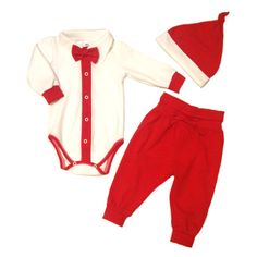 Babyboy Christmas suit  Christmas outfit white red by EcoEmi
