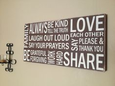 Subway WOOD CANVAS sign, hand painted, Family Rules, horizontal sign, 12 x 24,  with a Distressed Finish