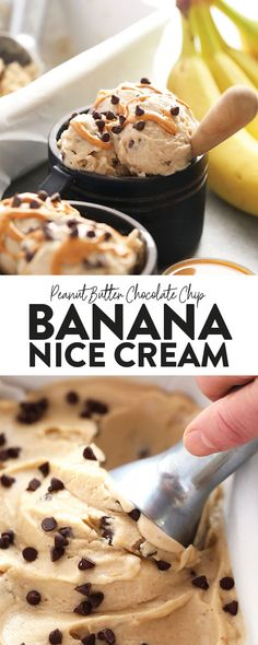 Peanut Butter Banana Nice Cream - Fit Foodie Finds - Food and Recipes - for chocolate chips for chocolate chips and peanut butter for chocolate chips cookies Desserts Sains, Köstliche Desserts, Frozen Desserts, Frozen Banana Recipes, Frozen Treats, Healthy Dessert Recipes, Healthy Desserts, Banana Nice Cream, Chocolate Banana Ice Cream