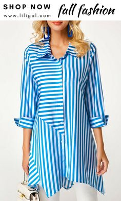 Stripe Print Button Up Blaue Bluse Trendy Tops For Women, Blouses For Women, Mode Outfits, Fashion Outfits, Fashion Sites, Trend Fashion, Kurta Designs, Blouse Designs, Blouse Styles