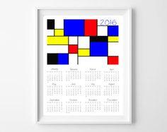 Mondrian style 2016 printable Calendar 8x10 by EfratulDigital