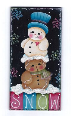 Snow Friends Gingerbread and Snowman Painting por GingerbreadCuties