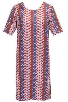 Red herringbone printed dress by Reboot. Shop now: http://www.perniaspopupshop.com/designers/reboot #dress #reboot #shopnow #perniaspopupshop