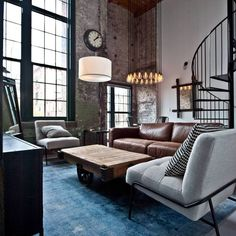 I love this industrial apartment living room idea, the ultimate industrial style family room.