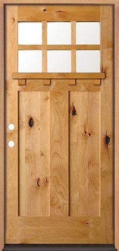 Knotty Alder 6-Lite Shaker Craftsman Front Door with Shelf