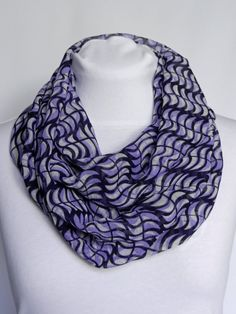 Purple Infinity scarf/ Chiffon Scarf/ Patterned Scarf/ Fashion Spring Fashion Casual, Autumn Fashion 2018, Neck Scarves, Blue Scarves, Navy Blue Scarf, Polka Dot Scarf, Spring Scarves, Lightweight Scarf, Fall Accessories