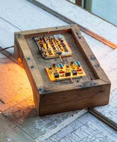 Lighted Pallet and Circuit Board Table or Wall Art. $65.00, via Etsy.
