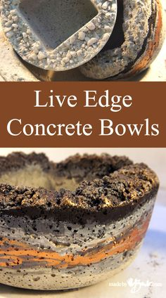 Live Edge Concrete Bowls Not your usual concrete bowl… These have more character These bowls start the usual way… EXCEPT … Diy Concrete Planters, Concrete Sculpture, Concrete Molds, Concrete Cement, Poured Concrete, Concrete Garden, Concrete Design, Wall Planters, Succulent Planters