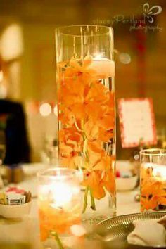 The easiest D. centrepieces for any bride and groom to make. Tall, cylindrical vases with your favourite flowers and floating candles. Orange Wedding, Fall Wedding, Our Wedding, Dream Wedding, Tuscan Wedding, Wedding Stuff, Glass Centerpieces, Wedding Centerpieces, Centrepieces