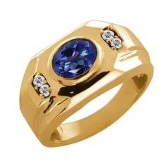 1.68 Ct Tanzanite Blue Mystic Topaz Topaz Yellow Gold Plated Silver Men's Ring Gem Stone King. $126.99. This Item Contains 100% Natural Stones. This item is proudly custom made in the USA