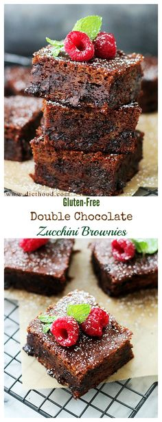 Decadent and fudgy Double Chocolate Brownies made with Zucchini!