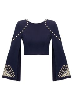Navy embroidered double sleeves crop top available only at Pernia's Pop-Up Shop.