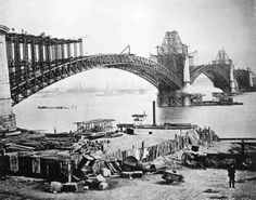The Eads Bridge opened in 1874 as the first St. Louis bridge over the Mississippi River.