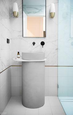 New Interior Design, Interior Design Magazine, Concrete Basin, Sutra, Basin Design, Farmhouse Design, Chrome, Vanity, How To Make
