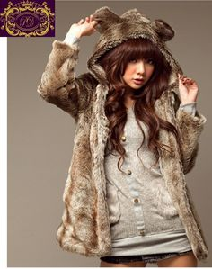 And another faux fur coat with animal ears.