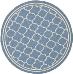 Safavieh Courtyard Collection CY6918-243 Blue and Beige Indoor/Outdoor Round Area Rug, 5-Feet 3-Inch