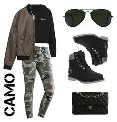 """""""Black with a touch of camo"""" by zunnetch on Polyvore featuring mode, Vetements, Bullhead Denim Co., Zara, Ray-Ban, Timberland, Chanel en camostyle"""