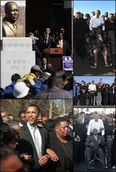 #44thPresident #BarackObama #Presidential #candidate in #Selma, Alabama March 4, 2007 re-creating a #VotingRights #march. #42nd #Anniversary of #commemorating #BloodySunday that was violently repressed by #state troopers in 1965 some of those who'd been on that bridge when #statetroopers moved in with tear gas and billy clubs walked along side Barack Obama crossing the #EdmundPettusBridge on March 4, 2007