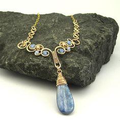 14k GF Wirework Necklace Kyanite Gemstone Pendant  by OzmayDesigns