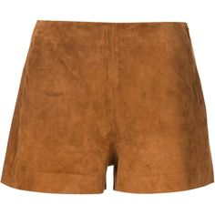 Rag & Bone Georgie Shorts ($355) ❤ liked on Polyvore featuring shorts, brown, rag & bone, brown shorts, rag bone shorts and suede shorts