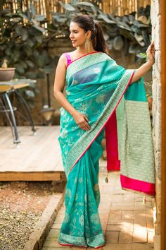Sea green Chanderi Kota saree with threadwork border and Pallu #saree #houseofblouse #chanderi #seagreen