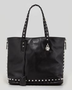 Studded Leather Padlock Shopper Bag, Black by Alexander McQueen at Neiman Marcus.