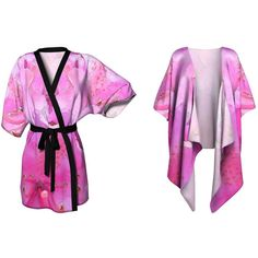 Pink Kimono Boho Hippy Summer Fashion Printed Jacket Plus Size... ($59) ❤ liked on Polyvore featuring swimwear, cover-ups, sheer kimono, kimono cover up, sheer swim cover up, chiffon kimono and short kimono