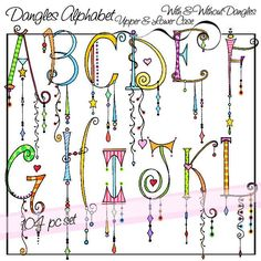 Dangles Alphabet Upper & Lower Case - Personal and Limited Commercial Use by atelieroz on Etsy https://www.etsy.com/listing/204954194/dangles-alphabet-upper-lower-case