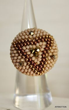 Beadwoven ring Seed Bead Jewelry, Seed Beads, Beaded Jewelry, Jewellery, Unique Jewelry, Beaded Bead, Beaded Rings, Weaving Art, Lace Making