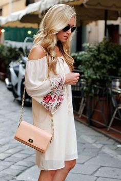 Dear Stylist - Love love love this open shoulder Embroidered dress!!! …