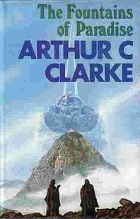 """The Fountains of Paradise is a Hugo and Nebula Award–winning 1979 novel by Arthur C. Clarke. Set in the 22nd century, it describes the construction of a space elevator. This """"orbital tower"""" is a giant structure rising from the ground and linking with a satellite in geostationary orbit at the height of approximately 36,000 kilometers (approx. 22,300 miles)."""