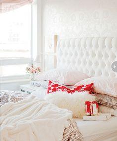 White Velvet Tufted Headboard - Contemporary - bedroom - Style at Home Airy Bedroom, Home Bedroom, Bedroom Decor, Feminine Bedroom, Pretty Bedroom, Shabby Bedroom, Light Bedroom, Shabby Cottage, Master Bedroom