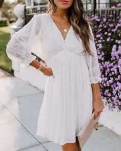 To Have And To Hold Embroidered Babydoll Dress Wedding Rehearsal Outfit, Rehearsal Dinner Outfits, Rehearsal Dress, White Engagement Dresses, Dresses For Engagement Pictures, Engagement Dress For Bride, Engagement Pics, Shower Dress For Bride, Bride Reception Dresses