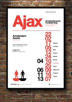 AJAX. CELTIC. This A2 print marks the occasion when these 2 great clubs me in the Champions League. Designed by Social Recluse and inspired by football.. Subbuteo and Helvetica. A2 / A3 prints available at www.thetenten.co.uk
